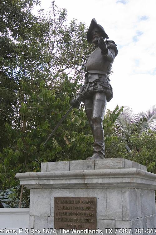 Statue of Francisco de Orellana, Spanish explorer (1511-46) who was the first to chart the Amazon River.  Plaza de Guapulo Siglo XVII in Quito, Ecuador.