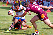 Bradford Bulls Johnny Campbell (19) is stopped short of the try line during the Kingstone Press Championship match between Batley Bulldogs and Bradford Bulls at the Fox's Biscuits Stadium, Batley, United Kingdom on 16 July 2017. Photo by Simon Davies.