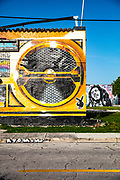 Street artists Trek6 and Chor Boogie painted a two-story building to resemble a gigantic boom box. The building on NW Sixth Avenue in Miami's Wynwood arts district was later repainted, as seen here, into a different boombox.