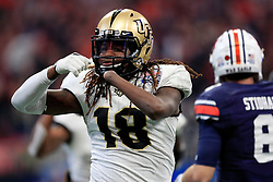 UCF Knights linebacker Shaquem Griffin (18) celebrates a sack during the 2018 Chick-fil-A Peach Bowl NCAA football game against the UCF Knights on Monday, January 1, 2018 in Atlanta. (Paul Abell / Abell Images for the Chick-fil-A Peach Bowl)