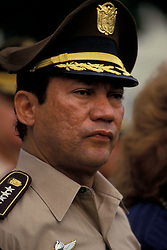 May 30, 2017 - FILE PHOTO - Former Nicaraguan Dictator MANUEL NORIEGA has died at the age of 83. Manuel Antonio Noriega Moreno (February 11, 1934 to May 29, 2017) was a Panamanian politician and military officer. He was military dictator of Panama from 1983 to 1989, when he was removed from power by the United States during the invasion of Panama. Noriega was also a major arms and cocaine trafficker who worked with the CIA. PICTURED: Aug. 08, 1988 - Panama City, Panama- MANUEL NORIEGA was a Panamanian soldier and the de facto military leader of Panama from 1983 to 1989. He was initially a strong ally of the United States and was regularly paid by the CIA from the late 1950s to 1986. By the late 1980s his actions became increasingly unacceptable to U.S. policy-makers, and he was overthrown and captured by a U.S. invading force in 1989, taken to the U.S., offered trial, and imprisoned in 1992. Up to this date, he remains imprisoned in a federal prison in Miami, Florida.  (Credit Image: © Bill Gentile/ZUMAPRESS.com)