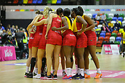 England Women team huddle before the Netball World Cup 2019 Preparation match between England Women and Uganda at Copper Box Arena, Queen Elizabeth Olympic Park, United Kingdom on 30 November 2018.