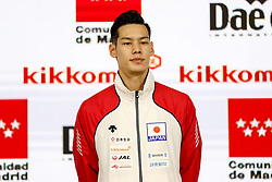 November 10, 2018 - Madrid, Madrid, Spain - Nishimura Ken (JPN) win the bronce medal and the third place of the tournament of male Kumite -75 Kg during the Finals of Karate World Championship celebrates in Wizink Center, Madrid, Spain, on November 10th, 2018. (Credit Image: © AFP7 via ZUMA Wire)