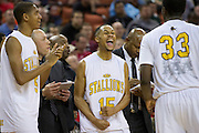 Jeremiah Jefferson (15) of Dallas Triple A Academy celebrates with teammates Harrison Henderson (5) and Dalyn Mumphrey (33) after defeating Mumford in the UIL 1A division 1 state championship game at the Frank Erwin Center in Austin on Friday, March 8, 2013. (Cooper Neill/The Dallas Morning News)