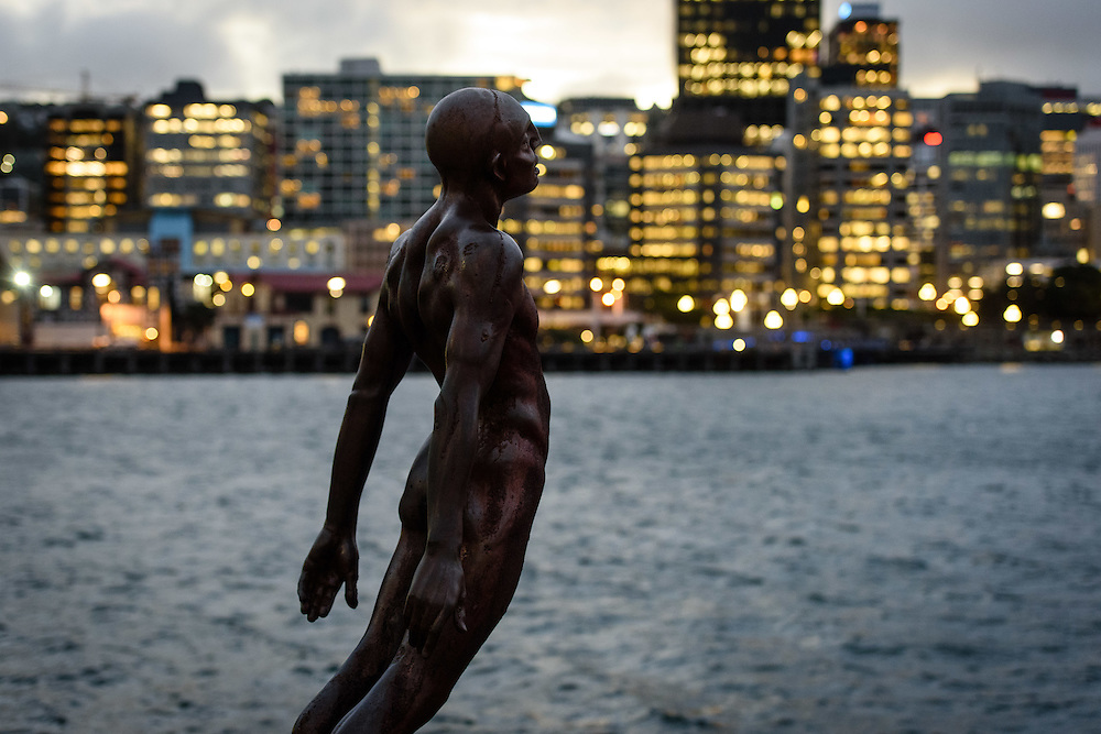 Solace in the Wind sculpture by Max Patte. WELLINGTON, NEW ZEALAND - June 23: Wellington Waterfront at dusk June 23, 2016 in Wellington, New Zealand. (Photo by Mark Tantrum/ http://marktantrum.com)