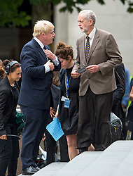 © Licensed to London News Pictures. 07/07/2015. London, UK. London Mayor BORIS JOHNSON and Labour MP JEREMY CORBYN. A church service held at St Paul's Cathedral In London on the 10th anniversary of the 7/7 bombings in London which killed 52 civilians and injured over 700 more.  Photo credit: Ben Cawthra/LNP