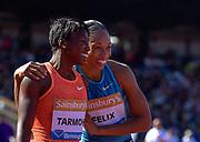 USA's Allyson Felix congratulates Jeneba Tarmoh (USA) on winning the women's 200m during the Sainsbury's Birmingham Grand Prix IAAF Diamond League Meeting at Alexandra Stadium, Birmingham, West Midlands, England on June  07  2015. (Steve Flynn/IOS via AP)