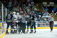 KELOWNA, CANADA - APRIL 22: Linesman Ron Dietterle stands between the Kelowna Rockets and the Seattle Thunderbirds on April 22, 2016 at Prospera Place in Kelowna, British Columbia, Canada.  (Photo by Marissa Baecker/Shoot the Breeze)  *** Local Caption *** Linesman; Ron Dietterle;