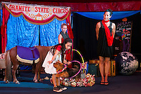 "Gigi Greene and ""Rosie""  with Haley Warren and Sara Greene as they perform in the Granite State Circus at Weirs Beach.  (Karen Bobotas/for the Laconia Daily Sun)"