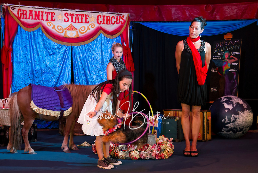 """Gigi Greene and """"Rosie""""  with Haley Warren and Sara Greene as they perform in the Granite State Circus at Weirs Beach.  (Karen Bobotas/for the Laconia Daily Sun)"""