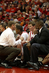 08 January 06  Micheal Vandello listens to some words of wisdom and encouragement from coach Porter Moser. ....The Illinois State Redbirds come up short against the Witchita State Shockers.  The Shockers put on a 2nd half show that left the Redbirds trailing 56 - 47 at the bell.  Dana Ford of the Redbirds matched his career high with 16 points, adding 7 boards and 4 steals.....Redbird Arena, Illinois State University  campus, Normal, Illinois