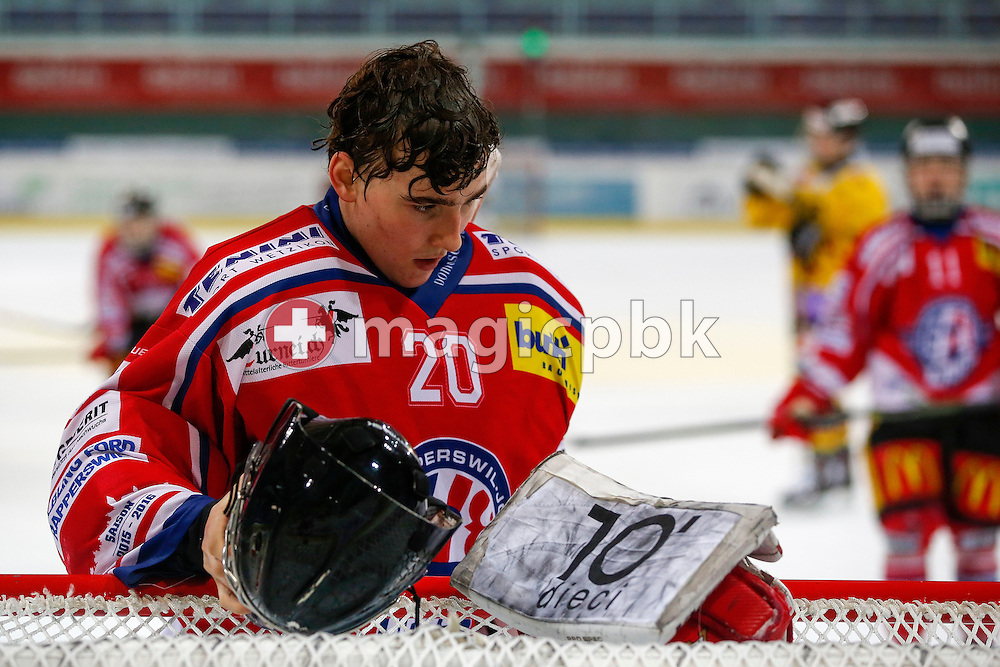Rapperswil-Jona Lakers goaltender Beat TRUDEL is pictured during a Novizen Elite ice hockey game between Rapperswil-Jona Lakers and SC Bern Future held at the Diners Club Arena in Rapperswil, Switzerland, Saturday, Feb. 6, 2016. (Photo by Patrick B. Kraemer / MAGICPBK)