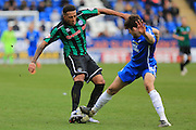 Nathaniel Mendez-Laing, Jack Baldwin during the Sky Bet League 1 match between Peterborough United and Rochdale at London Road, Peterborough, England on 9 April 2016. Photo by Daniel Youngs.