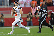 Cleveland Browns quarterback Baker Mayfield (6) rolls out to pass during an NFL football game against the San Francsico 49ers, Monday, Oct. 7, 2019, in Santa Clara, Calif. The 49ers defeated the Browns (Peter Klein/Image of Sport)