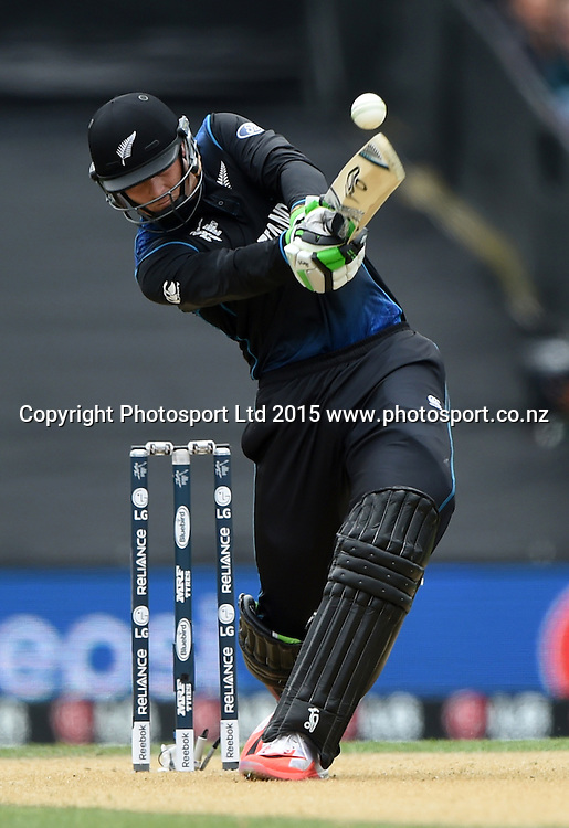 Martin Guptill batting during the ICC Cricket World Cup match between New Zealand and Sri Lanka at Hagley Oval in Christchurch, New Zealand. Saturday 14 February 2015. Copyright Photo: Andrew Cornaga / www.Photosport.co.nz