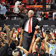 Mar 5, 2016; San Diego, CA, USA; San Diego State Aztecs head coach Steve Fisher reacts after cutting down the net following the game against the UNLV Rebels at Viejas Arena at Aztec Bowl. The Aztecs won 92-56. Mandatory Credit: Orlando Ramirez-USA TODAY Sports
