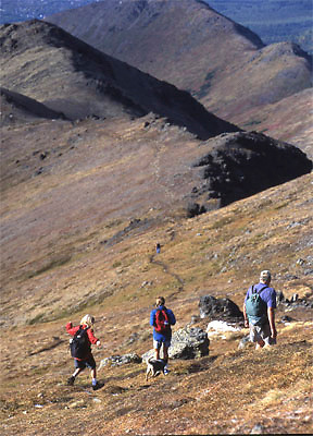 Alaska. Anchorage. Chugach State Park. A family of hikers along trail to Flattop mountain. A popular hiking trail near Anchorage.
