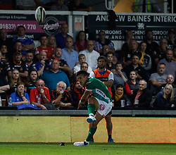 Benetton Treviso's Tommaso Allan attempts a conversion<br /> <br /> Photographer Simon King/Replay Images<br /> <br /> Guinness PRO14 Round 1 - Dragons v Benetton Treviso - Saturday 1st September 2018 - Rodney Parade - Newport<br /> <br /> World Copyright © Replay Images . All rights reserved. info@replayimages.co.uk - http://replayimages.co.uk