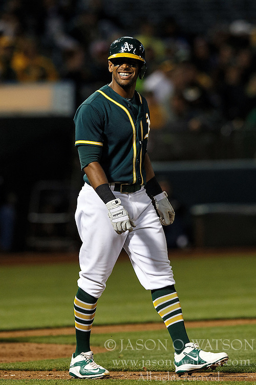OAKLAND, CA - JULY 21:  Khris Davis #2 of the Oakland Athletics reacts after getting hit by a pitch against the Tampa Bay Rays during the ninth inning at the Oakland Coliseum on July 21, 2016 in Oakland, California. The Tampa Bay Rays defeated the Oakland Athletics 7-3. (Photo by Jason O. Watson/Getty Images) *** Local Caption *** Khris Davis
