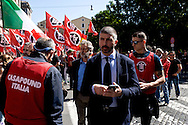 ROME, ITALY – MAY 21: Simone Di Stefano, candidate for mayor of Rome for CasaPound Italy  during march against the European Union and immigration policy, on May 21, 2016 in Rome, Italy. (Photo by Stefano Montesi/Corbis via Getty Images)