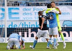 Football: Germany, 2. Bundesliga, TSV 1860 Muenchen - 1.FC Nuernberg, 17.05.2015,<br /> VITUS EICHER  TSV1860, CHRISTOPHER SCHINDLER TSV1860, DOMINIK STAHL TSV1860, Kai BUELOW TSV1860 celebrate at the end of the match<br /> <br /> © pixathlon