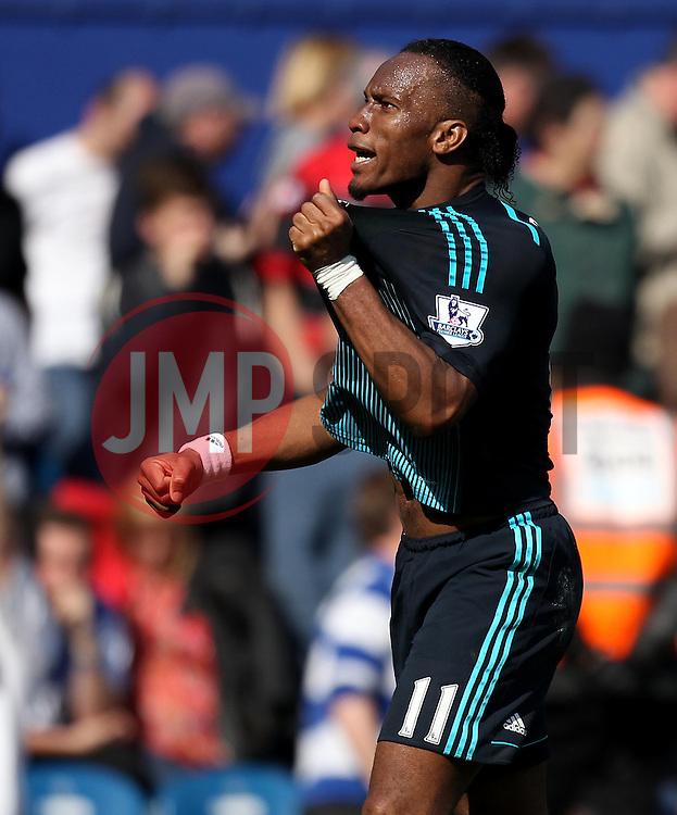 Chelsea's Didier Drogba celebrates - Photo mandatory by-line: Robbie Stephenson/JMP - Mobile: 07966 386802 - 12/04/2015 - SPORT - Football - London - Loftus Road - Queens Park Rangers v Chelsea - Barclays Premier League