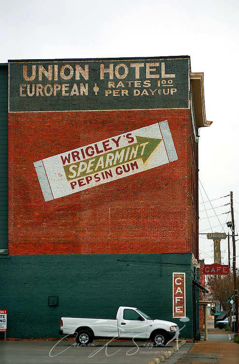 "The Union Hotel, no longer in operation, is pictured in downtown Meridian, Miss. on Jan. 9, 2011. The hotel is one of several that played a vital role in the city's early history as ""a child of the railroad"" and is now the home of numerous revitalized shops and businesses."