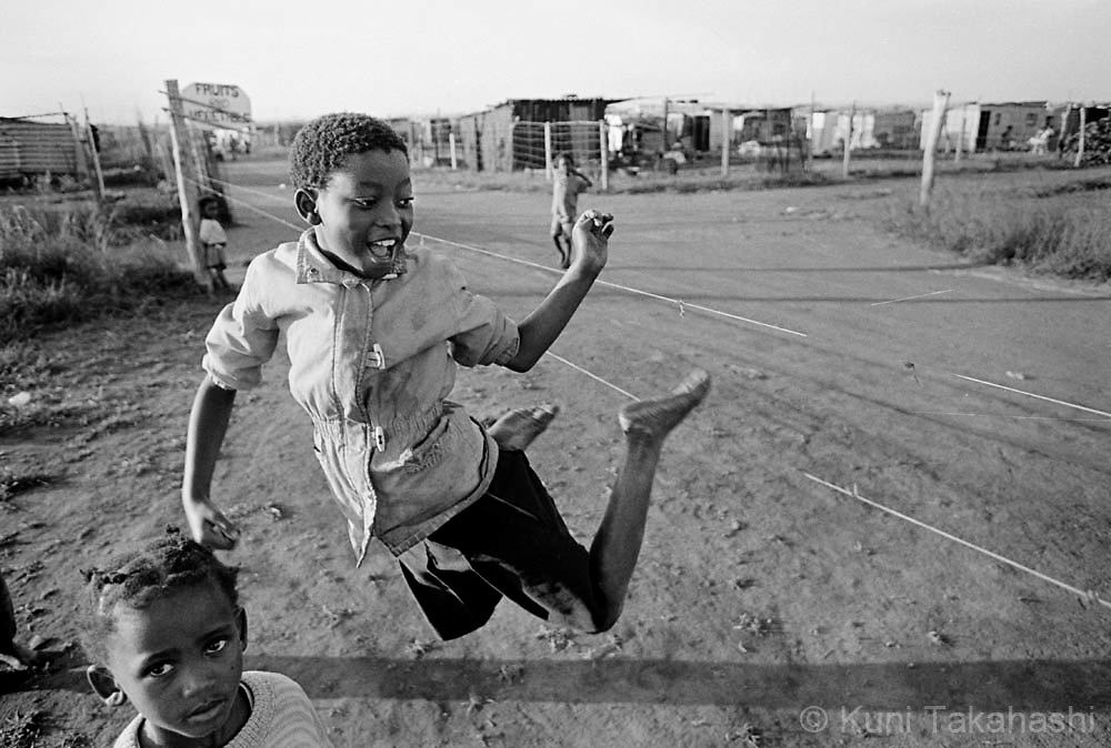 Children play in township near Johannesburg, South Africa in 1992.