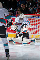 KELOWNA, CANADA - FEBRUARY 8: Michael Herringer #30 of Kelowna Rockets makes a save against the Seattle Thunderbirds on February 8, 2016 at Prospera Place in Kelowna, British Columbia, Canada.  (Photo by Marissa Baecker/Shoot the Breeze)  *** Local Caption *** Michael Herringer;