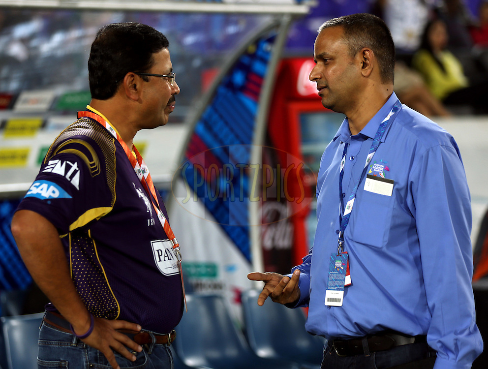 Venky Mysore co owner of Kokatta Knight Riders and IPL CEO Sundar Raman during match 7 of the Oppo Champions League Twenty20 between the Kolkata Knight Riders and the Lahore Lions held at the Rajiv Gandhi Cricket Stadium, Hyderabad, India on the 21st September 2014<br /> <br /> Photo by:  Sandeep Shetty / Sportzpics/ CLT20<br /> <br /> <br /> Image use is subject to the terms and conditions as laid out by the BCCI/ CLT20.  The terms and conditions can be downloaded here:<br /> <br /> http://sportzpics.photoshelter.com/gallery/CLT20-Image-Terms-and-Conditions-2014/G0000IfNJn535VPU/C0000QhhKadWcjYs
