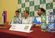 Wroclaw 29/01/2013.Hala Stulecia.Davis Cup .Poland vs Slovenia.Press conference of Slovenian team..Photo by : Piotr Hawalej