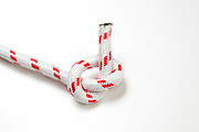 Overhand Knot on white background