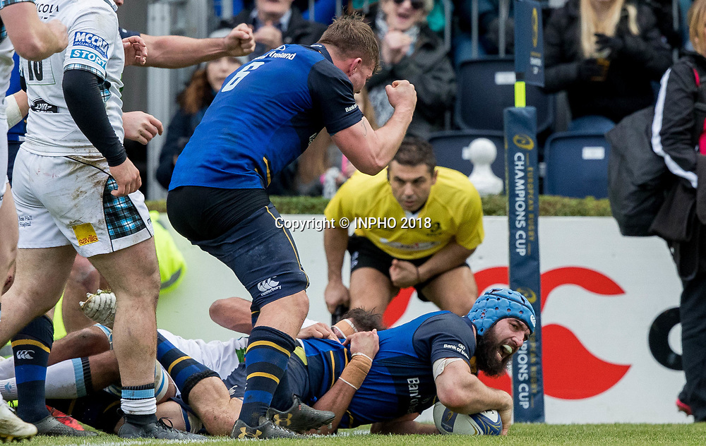 European Rugby Champions Cup Round 5, RDS, Dublin 14/1/2018<br /> Leinster vs Glasgow Warriors<br /> Leinster's Scott Fardy celebrates scoring a late try<br /> Mandatory Credit &copy;INPHO/Morgan Treacy