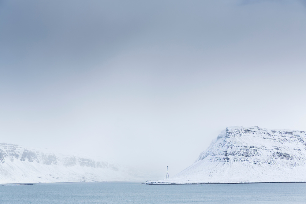 Snowy landscape in Hvalfjordur