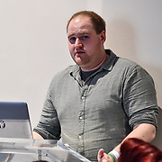 Speaker Nick Marshall at ukie students at London Games Festival 2019: HUB at Somerset House at Strand, London, UK. on 2nd April 2019.