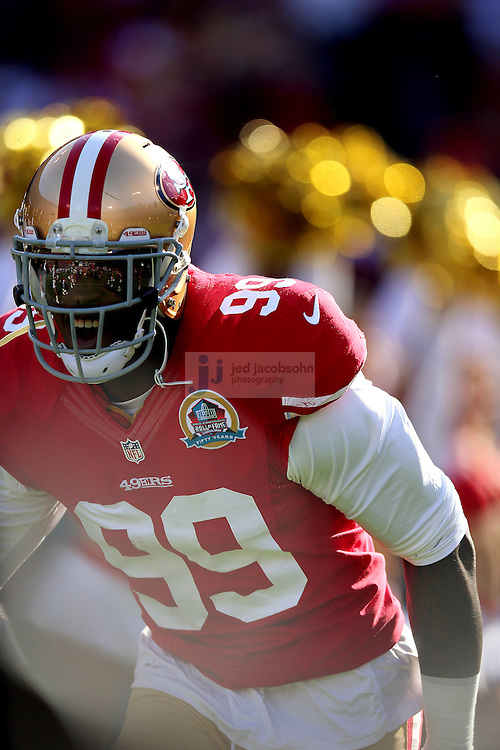 San Francisco 49ers outside linebacker Aldon Smith (99) enters the filed against the Miami Dolphins during an NFL game at Candlestick Park on December 9, 2012 in San Francisco, CA.  (Photo by Jed Jacobsohn)