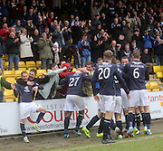 Dundee fans get in on the celebrations after Kyle Benedictus' goal - Livingston v Dundee - SPFL Championship at Almondvale <br />  - &copy; David Young - www.davidyoungphoto.co.uk - email: davidyoungphoto@gmail.com