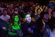 UNITED KINGDOM, London: 25 May 2019 <br /> Cosplay fans enjoy the show as they watch competitors compete in the Championships of Cosplay during the MCM London Comic Con. The three day comic convention is being held at London ExCeL from Fri 24th - Sun 26th of May.