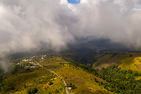 Aerial view of a town on the slope of Acatenango volcano in Guatemala on Monday, Nov. 5, 2018.
