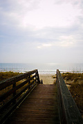 Boardwalk over dunes to beach in Pawleys Island, South Carolina.