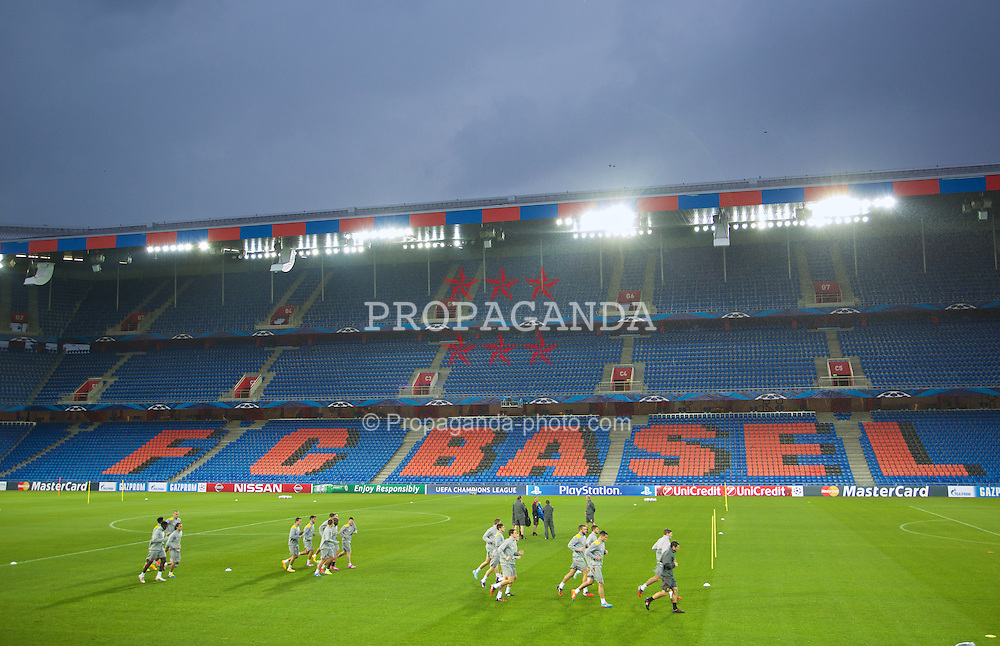 BASEL, SWITZERLAND - Tuesday, September 30, 2014: Liverpool players during a training session at the St. Jakob Stadium ahead of the UEFA Champions League Group B match against FC Basel. (Pic by David Rawcliffe/Propaganda)