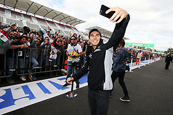Sergio Perez (MEX) Sahara Force India F1 with fans.<br /> 27.10.2016. Formula 1 World Championship, Rd 19, Mexican Grand Prix, Mexico City, Mexico, Preparation Day.<br />  <br /> / 271016 / action press