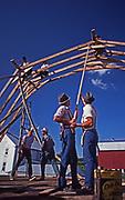 New Holland, Pennsylvania, conservative Mennonites raise barn.