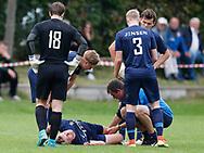 FODBOLD: Rasmus Hansen (Frem Hellebæk) skadet under kampen i Serie 1 mellem Frem Hellebæk og Espergærde IF den 26. august 2017 ved Nordkysthallen. Foto: Claus Birch