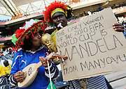 Fans support Italy before the 2010 FIFA World Cup South Africa Group F match between Italy and New Zealand at the Mbombela Stadium on June 20, 2010 in Nelspruit, South Africa.