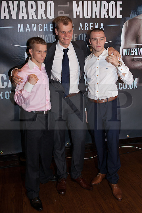 © Licensed to London News Pictures . 20/11/2012 . Manchester , UK . l-r Scott Jenkins , Richard Poxon , Adam Etches . Hatton Promotions Ricky Hatton undercard press conference at Manchester's Hard Rock Cafe today (20th November 2012) ahead of bouts at the Manchester Arena on November 24th 2012 . Photo credit : Joel Goodman/LNP