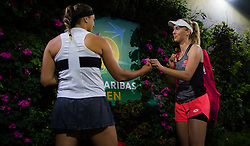 March 16, 2019 - Indian Wells, USA - Aryna Sabalenka of Belarus & Elise Mertens of Belgium on their way onto the court ahead of the doubles final of the 2019 BNP Paribas Open WTA Premier Mandatory tennis tournament (Credit Image: © AFP7 via ZUMA Wire)