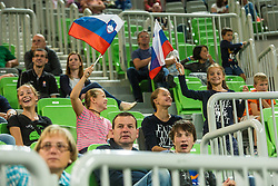 Slovenian fans during friendly volleyball match between national teams of Slovenia and Brasil in Arena Stozice on 9. September 2015 in , Ljubljana, Slovenia. Photo by Grega Valancic / Sportida