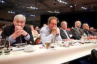 18 OCT 2008, BERLIN/GERMANY:<br /> Michael Sommer, Bundesvorsitzender des Deutsche Gewerkschaftsbundes, DGB, Frank Bsirske, Bundesvorsitzender der Dienstleistungdgewerkschaft ver.di, Hubertus Scholdt, Vorsitzender der Gewerkschaft IG Bergbau, Chemie, Energie, IG BCE (v.L.n.R.), ausserordentlicher Bundesparteitag der SPD, Estrell Convention-Center<br /> IMAGE: 20081018-01-117<br /> KEYWORDS: Party Congress, Parteitag, Sonderparteitag, nachdenklich