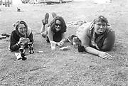 Lounging backstage, Exodus Free Festival, Luton, 1997.